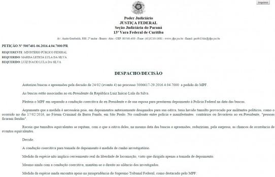 despacho lula 542x350 - FOTO DE LULA NA PF: Veja a ordem de Moro para conduzir Lula sem algemas