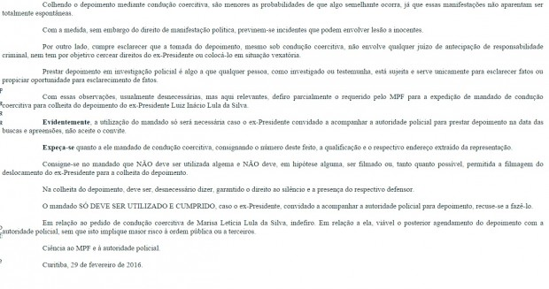 despacho lula2 620x327 - FOTO DE LULA NA PF: Veja a ordem de Moro para conduzir Lula sem algemas