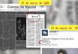 1964 ou 2016, você consegue identificar de quando são essas manchetes?