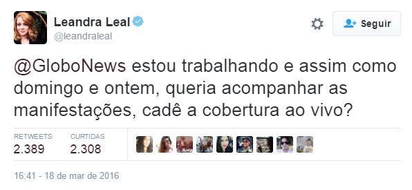 post leandra leal globo - Atris da Globo questiona emissora sobre cobertura das manifestação
