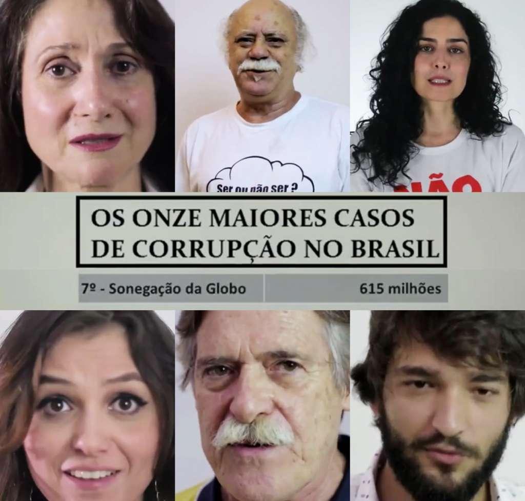 corrupcao - Artistas da Globo aparecem em vídeo que acusa a emissora de corrupção - VEJA VÍDEO