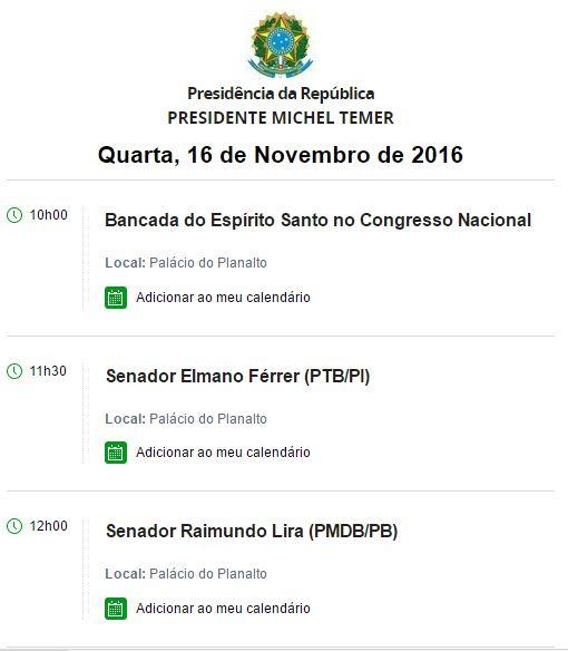 agenda - É HOJE: Acompanhado de Lira, governador Ricardo Coutinho será recebido por Temer