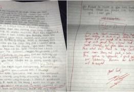 Ex-namorado corrige carta de desculpas e posta na internet