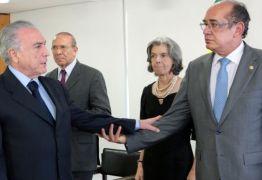 Para juristas, amizade entre Temer e Gilmar levanta dúvidas sobre imparcialidade de ministro no TSE