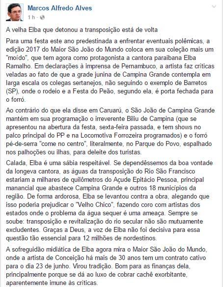 carlos alfredo - 'Calada, Elba é uma sábia respeitável', dispara secretário de comunicação de CG após críticas a programação do São João