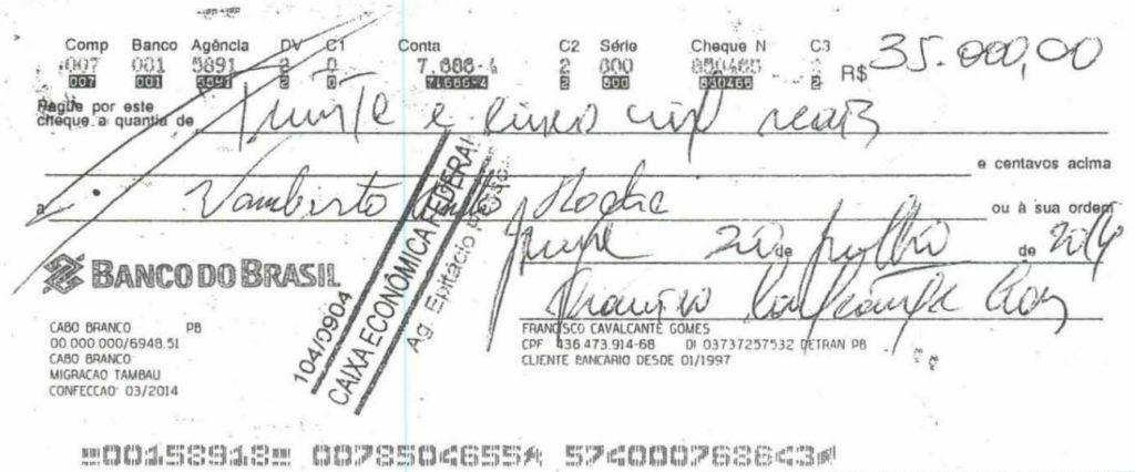 cheque-2 Grupo liderado por Tatiana Lundgren comprou R$ 238 mil em joias com cheques sem fundo