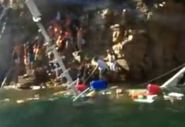 VEJA VÍDEO: Navio naufraga em represa