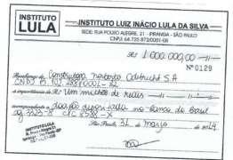 Odebrecht entrega recibos de doação de R$ 4 mi ao Instituto Lula