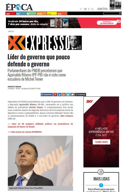 agg - LÍDER NÃO DEFENDE: Depois de Lula e Dilma, Aguinaldo Ribeiro já ensaia abandonar Temer