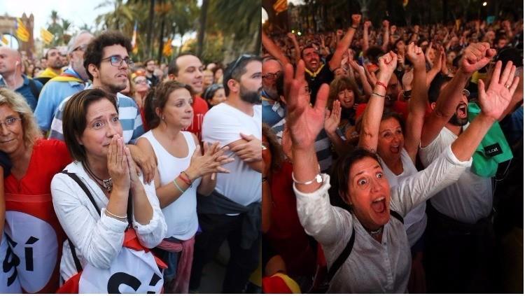 catalunha montagem - Catalunha declara independência, mas suspende efeito para negociações