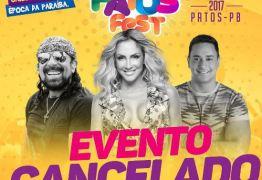 FLOPOU: Carnaval fora de época 'Patos Fest', na PB, é cancelado