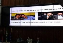 Anísio Maia exibe fotos dos senadores paraibanos no telão da ALPB