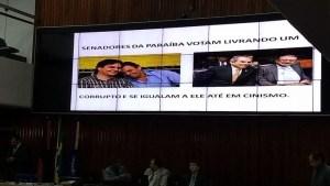 telao alpb 300x169 - Anísio Maia exibe fotos dos senadores paraibanos no telão da ALPB
