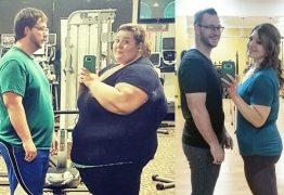 Antes e depois! Casal posta foto junto para mostrar que perdeu 180kg