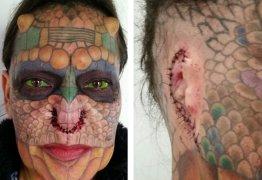 Mulher retira as orelhas e o nariz para ficar igual dragão; veja o resultado
