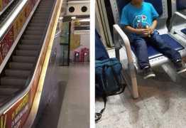 Menino de 3 anos fica preso em escada rolante e é resgatado a 7m do chão