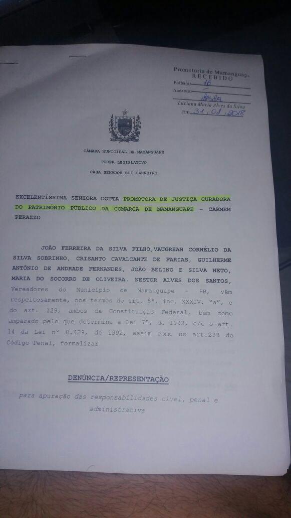 IMG 20180201 WA0017 - 'SUPERFATURAMENTO, CONTRATAÇÕES IRREGULARES...': vereadores denunciam prefeita de Mamanguape por 'crimes' cometidos na gestão pública