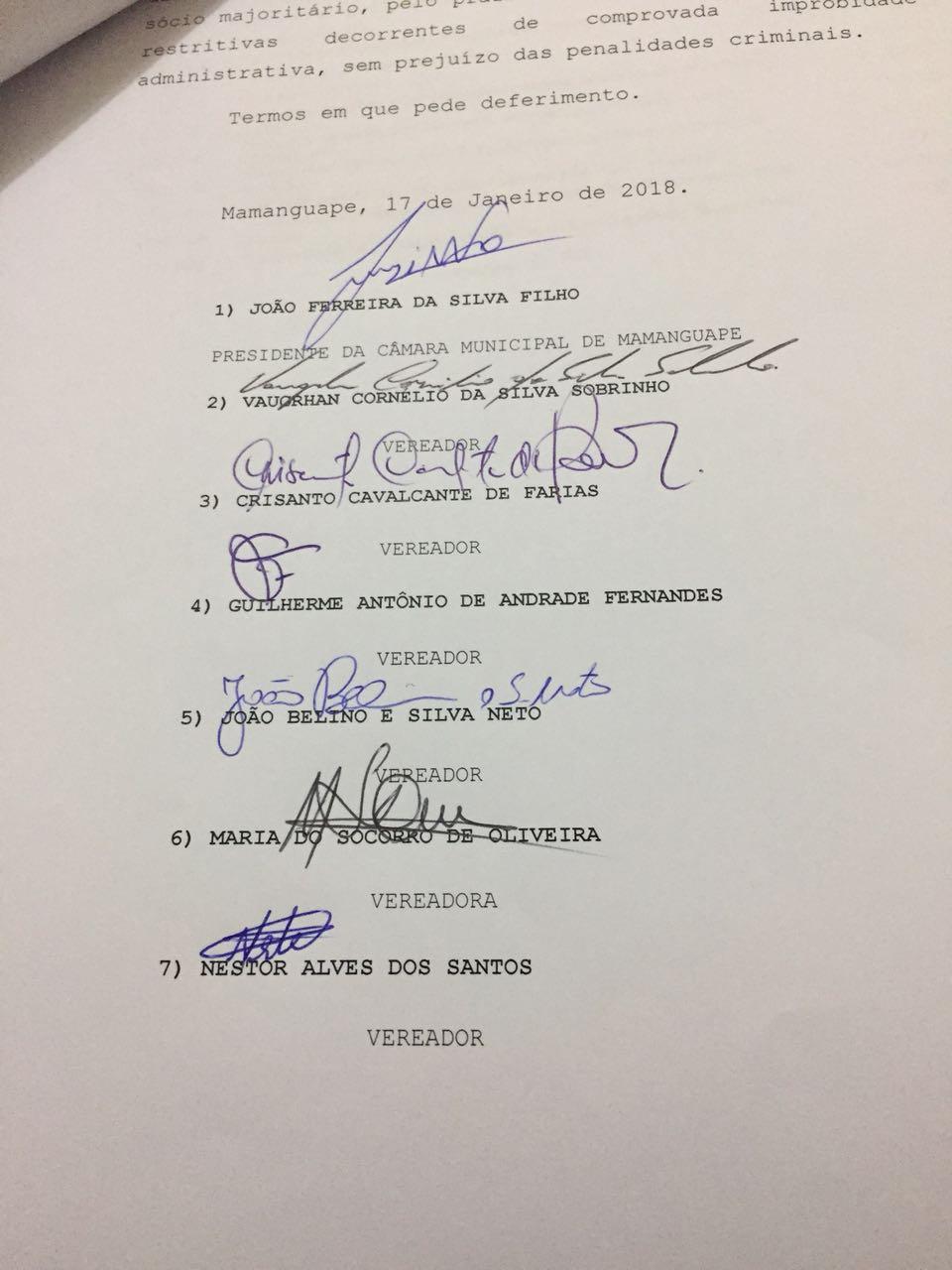 IMG 20180201 WA0018 - 'SUPERFATURAMENTO, CONTRATAÇÕES IRREGULARES...': vereadores denunciam prefeita de Mamanguape por 'crimes' cometidos na gestão pública