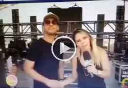 VEJA VÍDEO: Sâmya Maia comete gafe e pede para telespectadores assistir concorrência