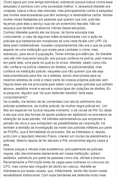 POSTAGEM CEL2 - Homenagem a Marielle de um coronel da PM do Rio: Os sinos dobram por ti