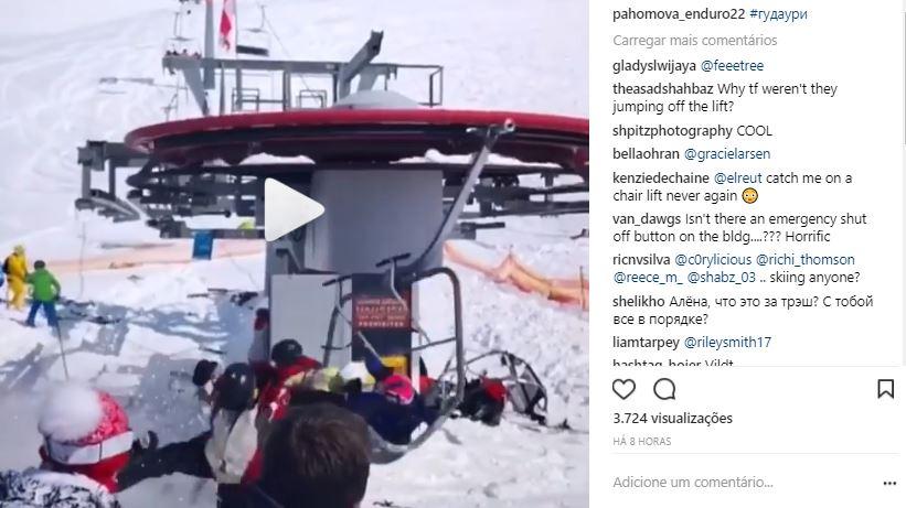 VIDEO TELEFERICO - CENAS CHOCANTES -Teleférico fora de controle arremessa esquiadores em pista  de esqui -VEJA VÍDEOS