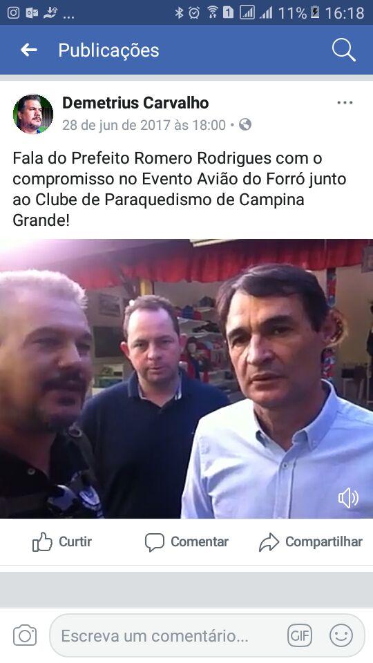 """WhatsApp Image 2018 04 12 at 8.54.54 AM - VEJA VÍDEO: Romero é cobrado por paraquedistas que o acusam de calote no projeto """"Avião do Forró"""" no Maior São João do Mundo"""