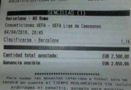 Torcedor perde R$ 10,5 mil ao apostar em vaga do Barcelona, mas time foi eliminado