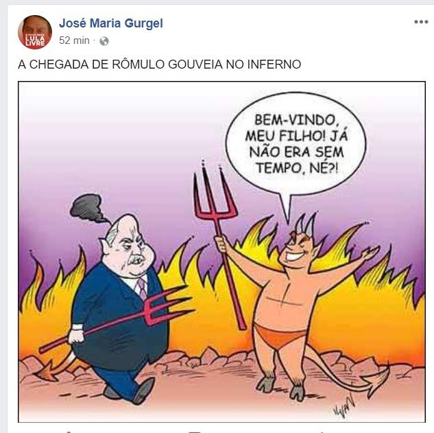 IMG 20180522 WA0016 - RÔMULO GOUVEIA NO INFERNO: Secretário do PT publica charge ofensiva a deputado morto e perde o cargo em prefeitura - entenda o caso