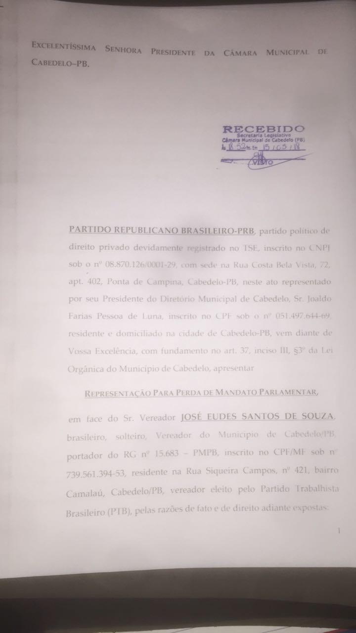 cassaçao eudes - CABEDELO: Pedido de cassação do vereador Eudes é protocolado na Câmara Municipal