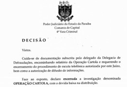 Justiça quebra sigilo de escutas telefônicas para investigados da Operação Cartola