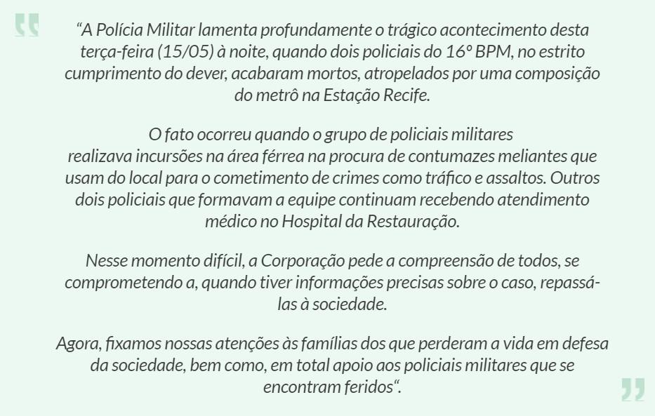 nota pm pe - Encurralados, PMs morrem atropelados por metrô no Recife