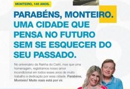 João Henrique e Edna Henrique parabenizam cidade de Monteiro pelos 146 anos de emancipação