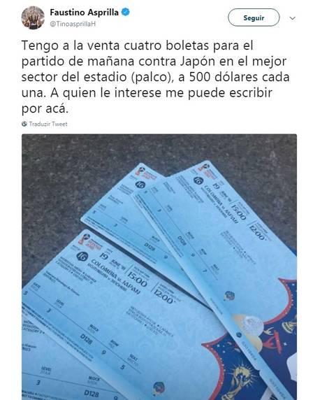 xasprilla ingresso.jpg.pagespeed.ic .RGyM1PxBdw - Ex-jogador de futebol vende ingressos da Copa pela internet e é acusado de cambismo