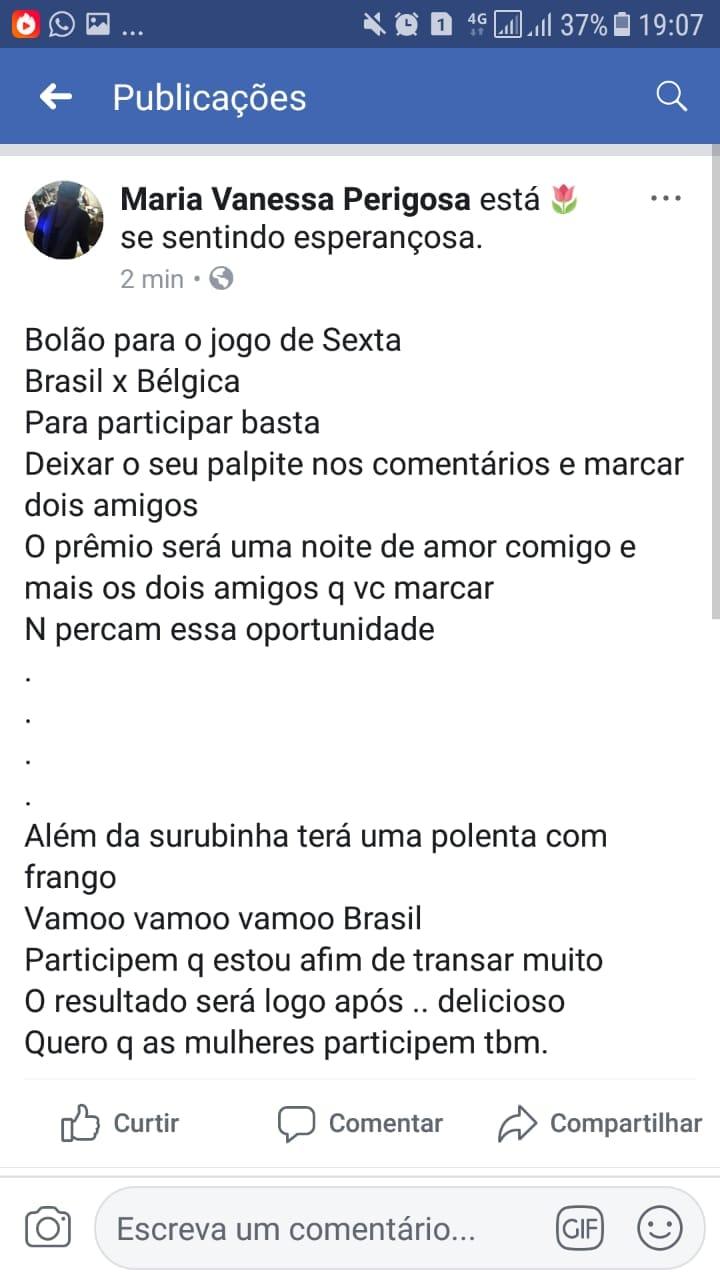 1 - Mulher viraliza nas redes ao oferecer sexo a três como prêmio de bolão no jogo do Brasil