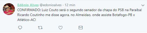 Capturar 71 - CONFIRMADO? Em conversa com jornalista, Ricardo disse que Luiz Couto será o candidato ao Senado na chapa de João Azevedo