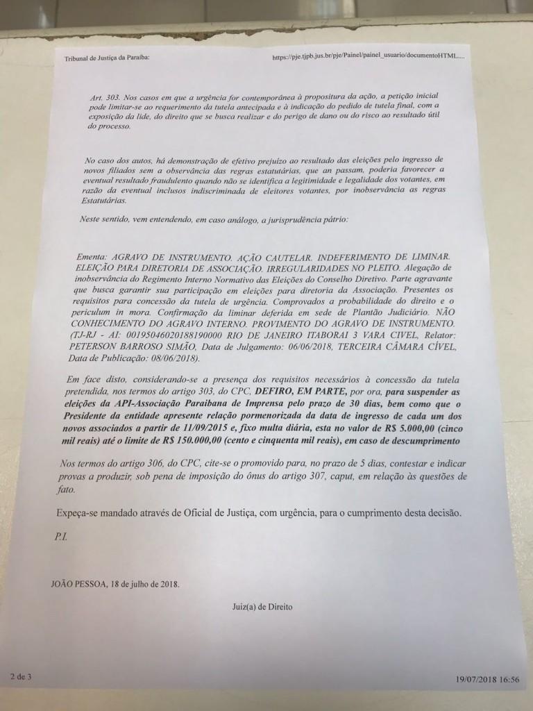 WhatsApp Image 2018 07 19 at 17.54.09 768x1024 - SUSPENSA AS ELEIÇÕES DA API: Juíza prorroga por 30 dias suspeitando de fraude na lista de sócios pelo atual presidente João Pinto