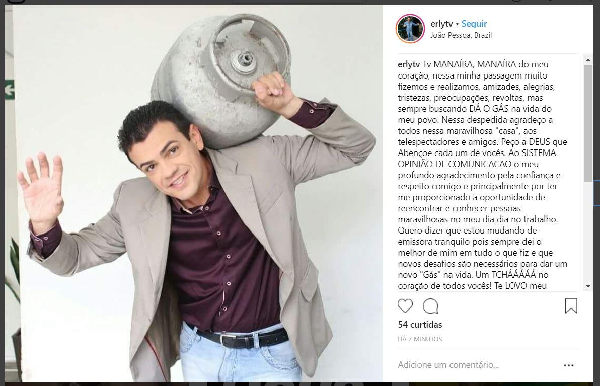 erly - DE MUDANÇA: Erly Fernandes sai da TV Manaíra e deve embarcar em projeto da TV Arapuan