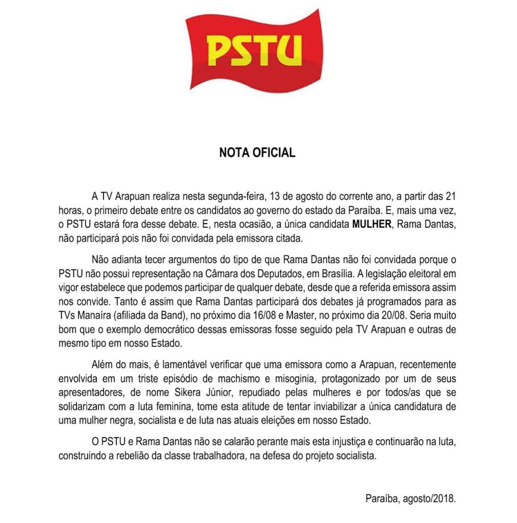 WhatsApp Image 2018 08 13 at 19.48.49 1014x1024 - 'TV ARAPUAN INVIABILIZA ÚNICA CANDIDATURA DE MULHER AO GOVERNO': dispara Rama Dantas ao não ser convidada para debate