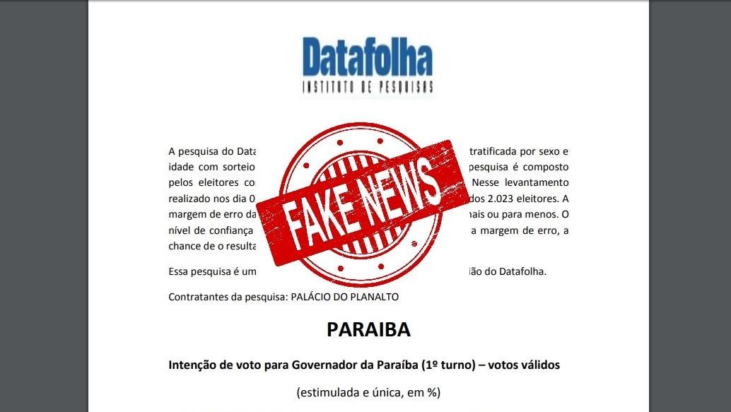 Datafolha falso 3 - CRIME ELEITORAL: falsa pesquisa atribuída ao Datafolha circula nas redes sociais, na Paraíba