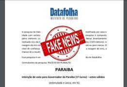 CRIME ELEITORAL: falsa pesquisa atribuída ao Datafolha circula nas redes sociais, na Paraíba