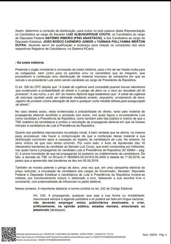 Screenshot 20180929 190222 e1538259627193 - MULTAS DE ATÉ R$ 65 MIL: TRE proíbe candidatos e partidos de utilizarem material de campanha com Lula como candidato a presidente