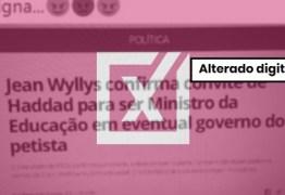 Notícia de que Jean Wyllys foi convidado para ser ministro da Educação de Haddad é falsa