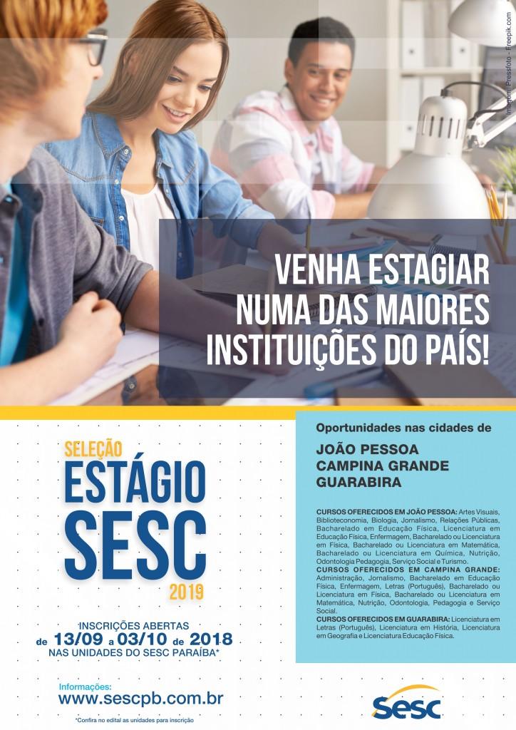 estagio2019 - Sesc Paraíba abre inscrições para seleção de estágio 2019