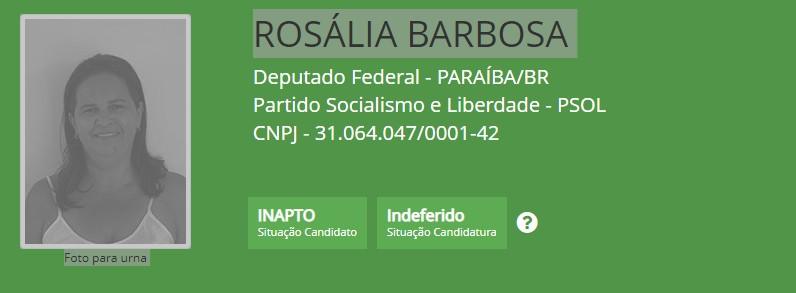rosália barbosa - TSE indefere registro de dois candidatos a deputado federal; CONFIRA