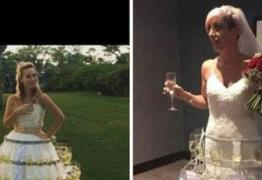 Noiva usa vestido de casamento 'enfeitado' com 50 taças cheias de bebida