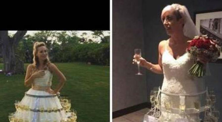 vestido - Noiva usa vestido de casamento 'enfeitado' com 50 taças cheias de bebida