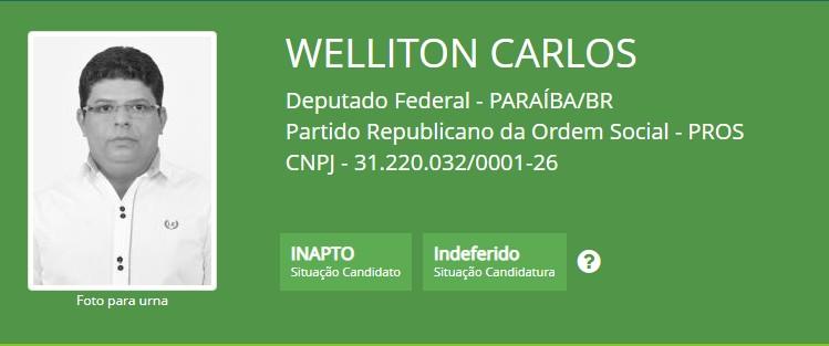 wellinton carlos - TSE indefere registro de dois candidatos a deputado federal; CONFIRA