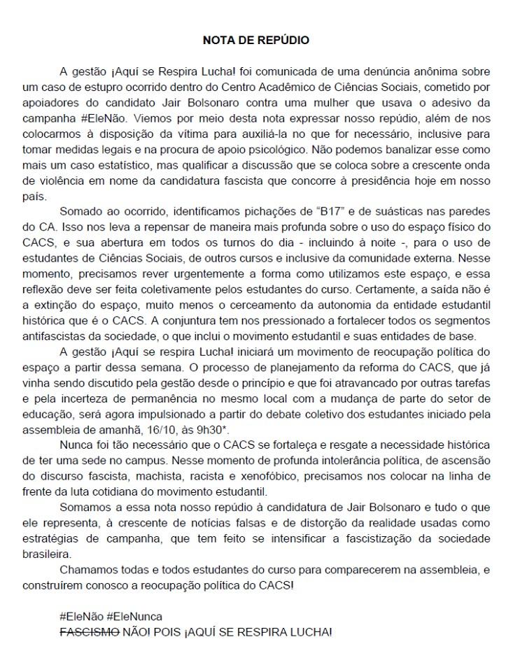 44138055 872367153153844 2278470967887921152 n - BARBÁRIE: Estudante é estuprada por eleitores contrários ao seu posicionamento político - LEIA O RELATO