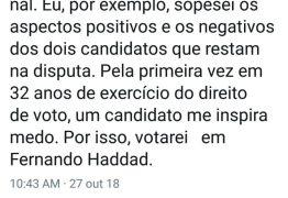 """Algoz"" do PT, Joaquim Barbosa anuncia voto em Haddad"
