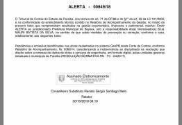 TCE-PB emite alerta para Noquinha após irregularidades na gestão de Bayeux